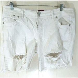 Torrid White Distressed Denim Jean Shorts
